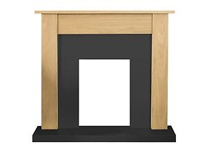 Kendall Wooden Fireplace in Oak and Black Back Panel and Hearth (Free Delivery)