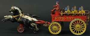 1890s CAST IRON HORSE DRAWN FIRE PATROL WAGON By HUBLEY LARGE SIZE 21 INCH