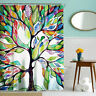 Room Decor Multicolor Tree Print Shower Curtain Bathroom Waterproof Curtain Hook