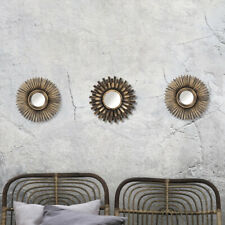 Set of 3 Bronze Mirrors Moroccan Antique Style Wall Mount Home Decor Vintage