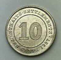 Dated : 1927 - Silver Coin - Straits Settlements - 10 Cents - King George V