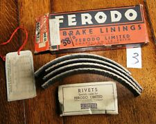 """Vintage Ferodo Brake Linings BGG/8/1. Boxed Set with Rivets. 9"""" x 1/4"""" drums. 3"""