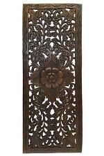 Decorative Asian Wall Relief Panel Sculpture.Teak Wood Wall Hanging. Dark Brown