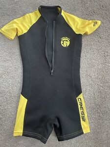 Cressi Little Shark Wetsuit Age 7 8 Boys Girls Yellow Black Sun Protection 50+
