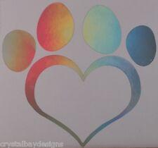 Dog Paw Love Heart Rainbow Holographic Vinyl Car Decal Sticker Laptop