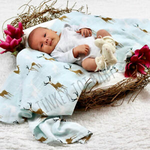 Large Baby Newborn Swaddle Boy Girl Organic Muslin Wrap Sleeping Bag Blanket AU