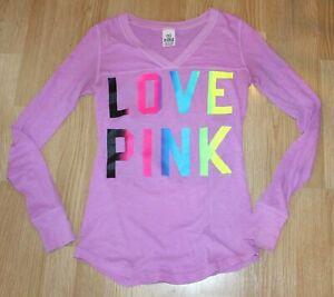 Victoria's Secret PINK Women's Purple Love Pink Long Sleeve T Tee Shirt Size XS