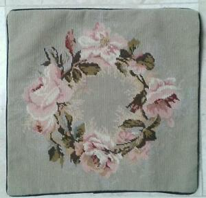 """18"""" NeedlePoint """"FLORAL WREATH"""" Pillow Sham 18"""" Square with Piping"""