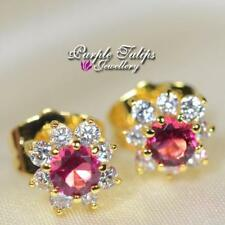 18CT Yellow Gold Filled Flower Stud Earrings MadeWith Swarovski Crystal