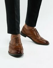 ASOS LEATHER TAN BROWN MENS OXFORD LEATHER LACE UP CLASSIC BROGUES SHOES NEW 8
