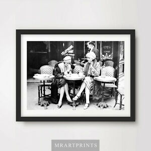 VINTAGE 1920s PARIS CAFE Art Print Poster Restaurant Coffee Photo Picture Black