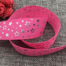 5yards 25mm print Five stars Hot silver Grosgrain Bow Ribbon Hair Sewing Rose