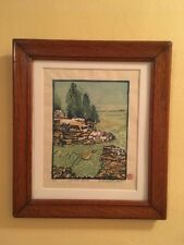 Door County WI Cave Point Ltd Ed Colored Woodblock Print Signed Nolan