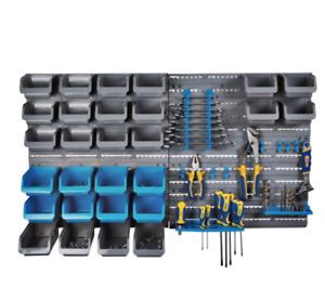 Storage Rack Organiser, 44 Piece Wall Mounted, Panel Tools Screws Bits DIY