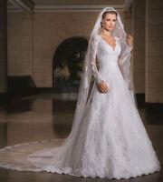 Long Sleeve lace Wedding Dresses V-neck Bridal Gowns Custom 2 4 6 8 10 12 14 16+
