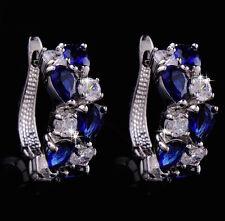 14k White Gold GF Earrings made w Swarovski Crystal Sapphire Blue & Clear Stone