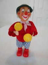 Old Wind Up Movable Musical Maracas Clock Work Clown Rubber Face Toy Hong Kong
