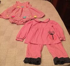 Lot of 2 Spring Toddler Girl Outfits Size 24 Months Gingham Dress LadyBug Outfit