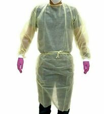 5 Yellow Isolation Gowns Knit Cuff, 20 G, PP, Medical Dental, Latex Free