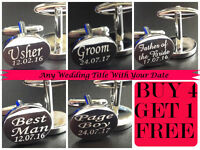 Personalised Dated Wedding Cufflinks Silver OVAL BEST MAN GROOM USHER gift mo1a