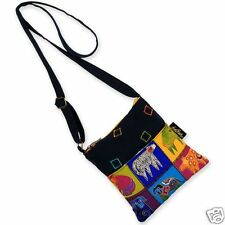 Laurel Burch Cotten Quilted Patchwork Papillion Doggies Crossbody Bright Bag NWT