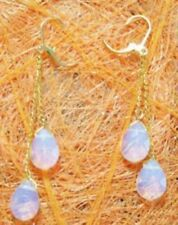White Blue Fire Opal Drop Yellow Gold Plated Link Leverback Hook Dangle Earrings