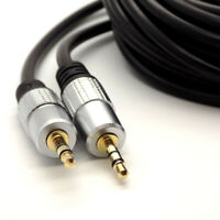 5m Metre Stereo 3.5mm Mini Jack Headphone Aux Audio Cable 24k Gold Connector TRS