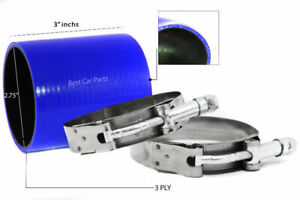 """BLUE Silicone Coupler Hose 2.75"""" 70 mm + T-Bolt Clamps Air Intake Intercooler TY"""