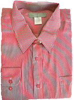 Trend Setters Men's White and Red Vertical Striped Tuxedo Dress Shirt SZ: L & XL