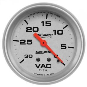 "AutoMeter 4484 GAUGE, VACUUM, 2 5/8"" , 30INHG, MECHANICAL, ULTRA-LITE"