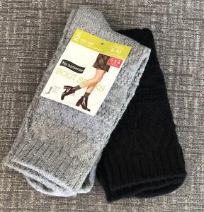 No Nonsense Women/'s Mid Calf Boot Socks Shoe Size 4-10 Chino /& Grey 2 Pairs NEW