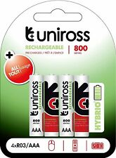 4 x UNiROSS Hybrio Pre-charged AAA LR3 800 Series NiMH+ Rechargeable Batteries