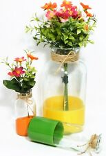 Vases/Clear Glass Jars/Bottles/Yellow/Green /Orange/Faux Flowers/Whimsical/ 3