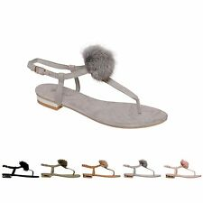 4fb3a245c00be Ladies Womens Ankle Strap Flat Pom Pom Toe Post Gladiator Sandals Shoes  Size 3-8