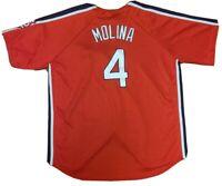 MLB St Louis Cardinals 4 Yadier Molina Button Up Shirt Red Jersey Men's Size 2XL