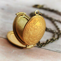 Expanding Scale Pretty 4 Photo Locket Necklace Oval Pendant Memorial Family Gift