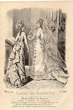 """36/ GRAVURE DE MODE """"  JOURNAL des DEMOISELLES """" 1876"""