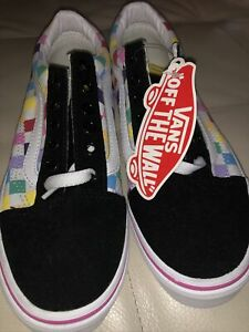 VANS Kids Rainbow Size 3 Checkered Suede Shoes Sneakers Lace Up Tennis