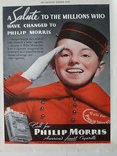 1938 Philip Morris Bellboy Salute Hat Gloves Color Original Ad