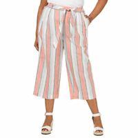 TOMMY HILFIGER Women's Plus Striped Linen Blend Pull-on Cropped Pants TEDO