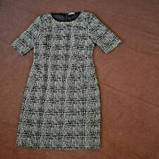 Lands End Sz 12 Black White Textured Ponte Knit Stretch Sheath Dress w Pockets