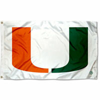 Miami Canes White Large Outdoor Flag
