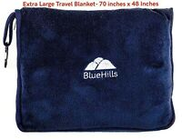 BlueHills Premium Soft Longer Travel Flight Blanket Pillow for Tall - Navy Blue
