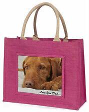 Vizsla Ungherese 'ti amo papà' Borsa Grande Rosa Da Shopping In Juta Animal,