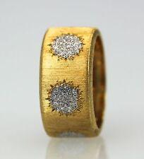 BUCCELLATI 18K TEXTURED BRUSHED YELLOW GOLD RING W/WHITE 6 GOLD CIRCLES SIZE 7