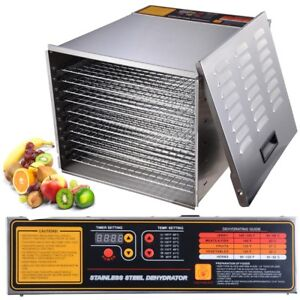 Yescom Commercial Food Dehydrator 10 Tray Stainless Steel 55L Meat Jerky Dryer