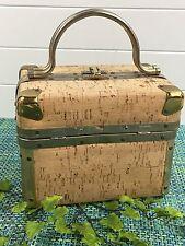 Vintage DELILL 50's 60's CORK Box Handbag Cosmetic Train Case Luggage