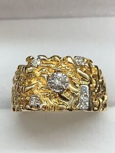 14k yellow gold Nugget ring with Diamonds