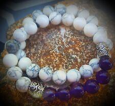 Handmade Purple & White Chakra Healing Bracelet-  USA Made Inspirational Yoga
