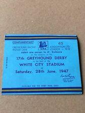 17TH GREYHOUND DERBY WHITE CITY STADIUM 28 JUNE 1947 RACING RACE CARD TICKET
